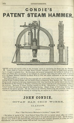 Keywords: advertisements, directories, engineering, engineers, forges, Govan Bar Iron Works, iron founders, ironworks, John Condie, patents, Post Office Glasgow directory, steam hammers