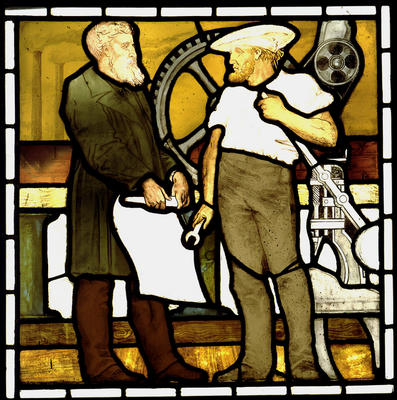 Keywords: engineering, engineering draughtsmen, engineers, machinery wheels, Maryhill Burgh Halls, spanners, stained glass windows