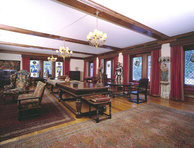 Keywords: art collections, art collectors, art galleries, Burrell Collection, carvings, castles, chairs, doorways, furnishings, furniture, halls, Hutton Castle Hall, museums, Persian rugs, Pollok Park, stained glass, suits of armour, tables, tapestries