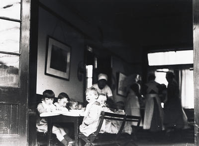 Children enjoying a meal at the bridgeton child welfare centre and day