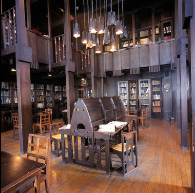 Keywords: architecture, Art Nouveau, chairs, desks, furnishings, furniture, Glasgow School of Art, Glasgow Style, interior design, interiors, libraries, Mackintosh Library